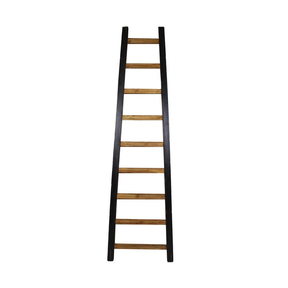Čierny dekoratívny rebrík z teakového dreva HSM Collection Tangga, 195cm