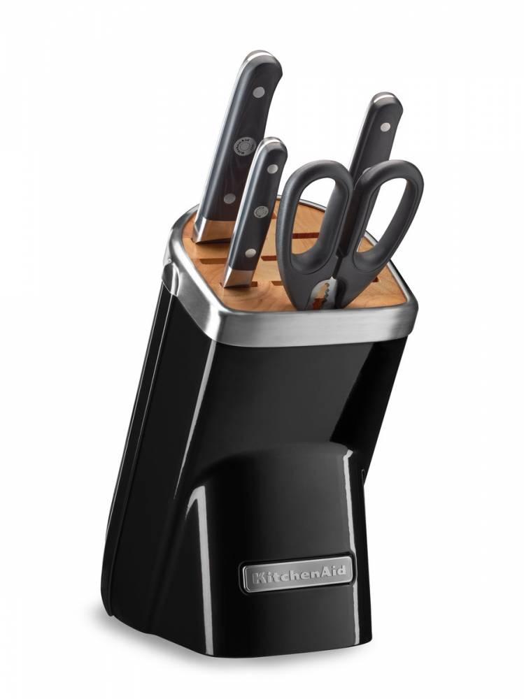 KitchenAid Sada nožů s blokem, 5 ks, černá KKFMA05AOB