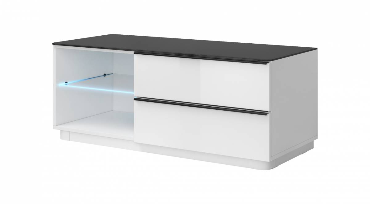 TV stolík/skrinka Typ 41 (biela + čierne sklo)