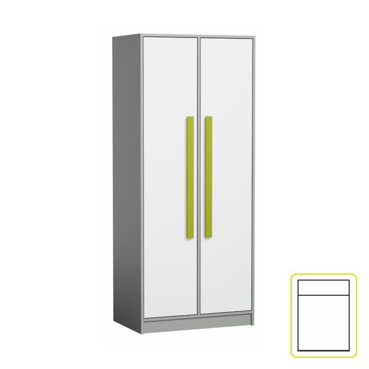 Vešiaková skriňa PIERE P01   Farba: sivá/biela/zelená