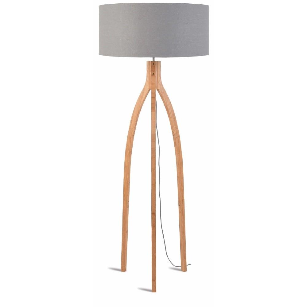 Stojacia lampa so svetlosivým tienidlom a konštrukciou z bambusu Good&Mojo Annapurna
