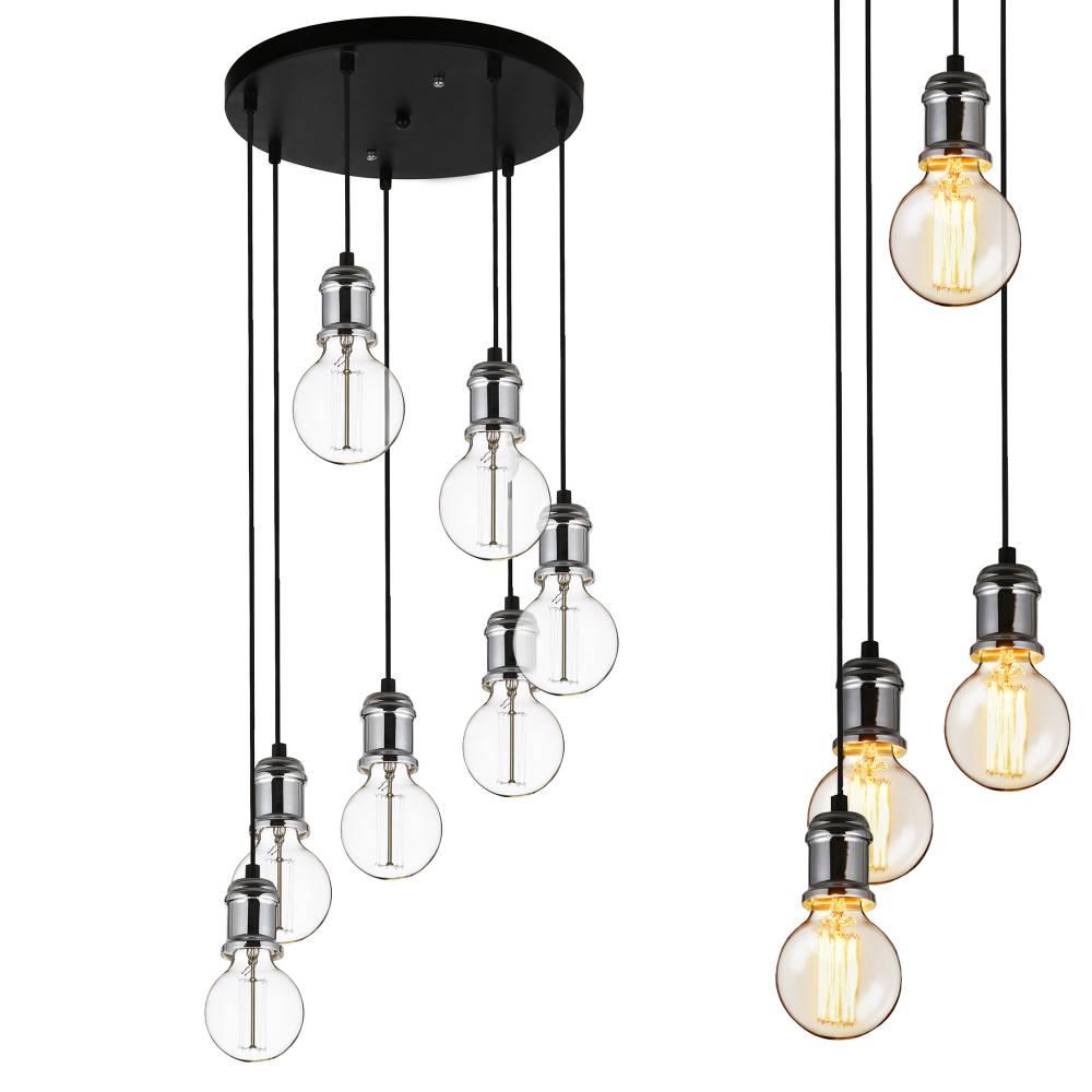 [lux.pro]® Dekoratívna dizajnová design závesná lampa / stropná lampa - čierno-strieborná (7 x E27)