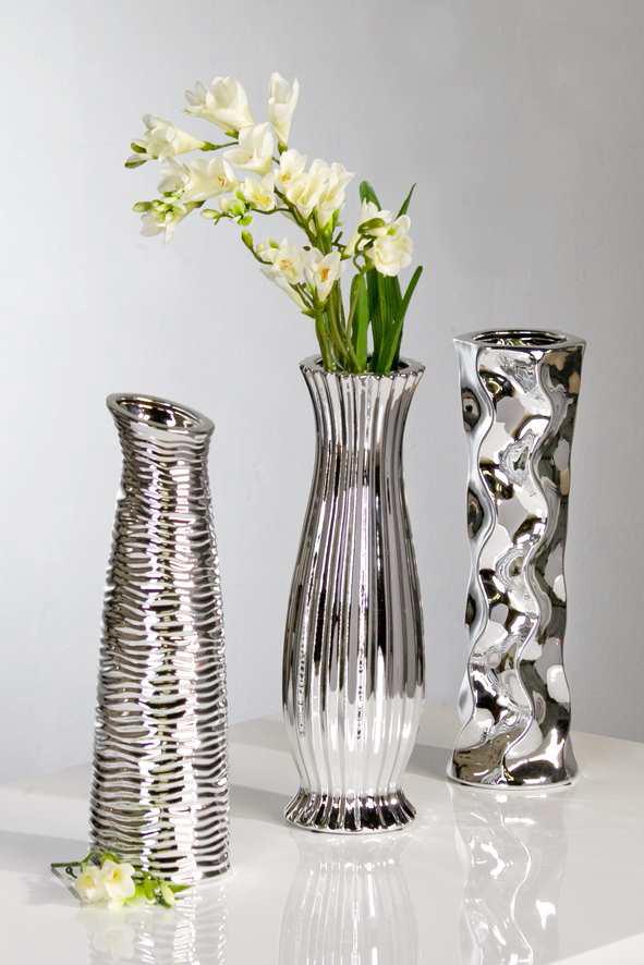 Keramická váza DIVERSO 33,5 cm - strieborná