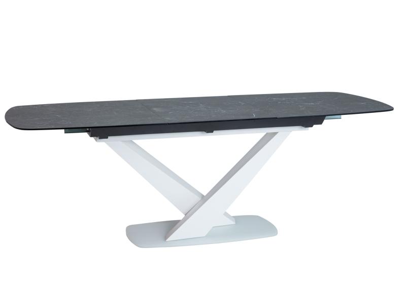 ROYAL jedálenský stôl, mramor/biely mat