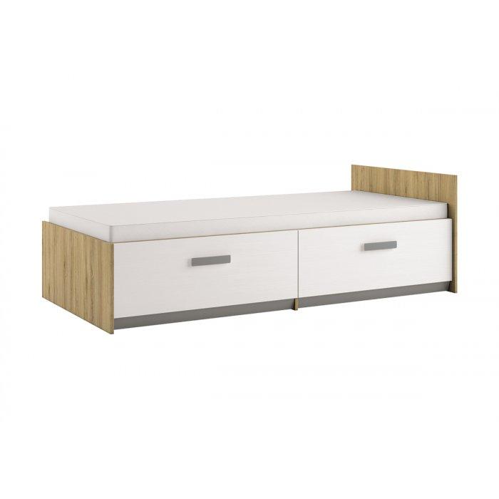 ML MEBLE BEST 17 90 posteľ - dub divoký / biela linea / sivá