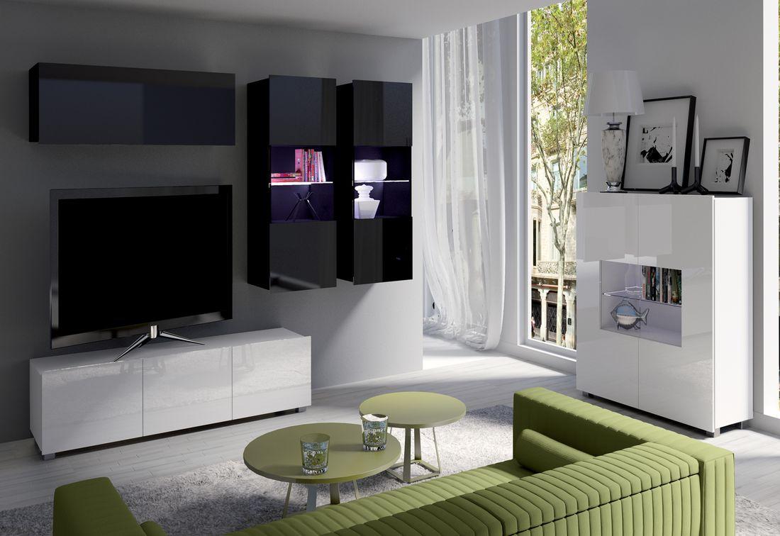 Obývacia zostava BRINICA NR6, čierna/čierny lesk + biela/biely lesk + modrý LED