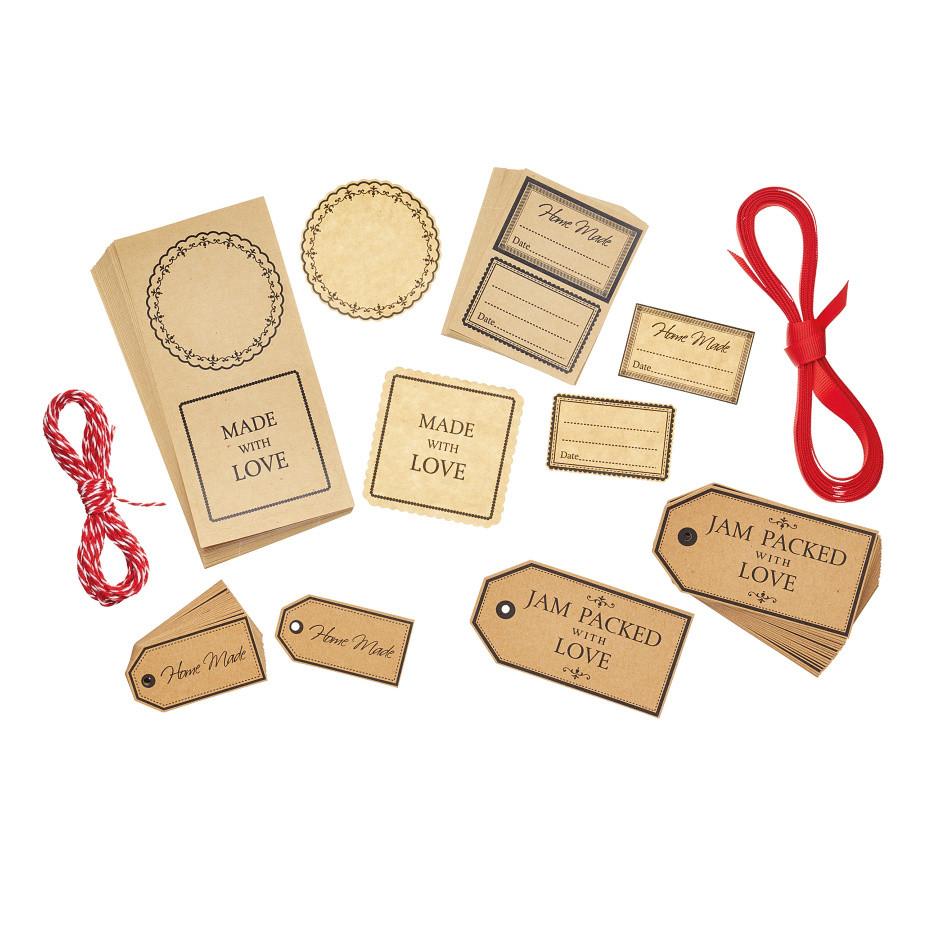Sada 120 darčekových štítkov amenoviek Home Made