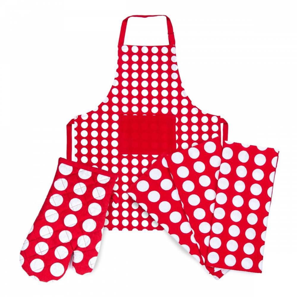4Home Výhodná kuchynská sada Červená bodka