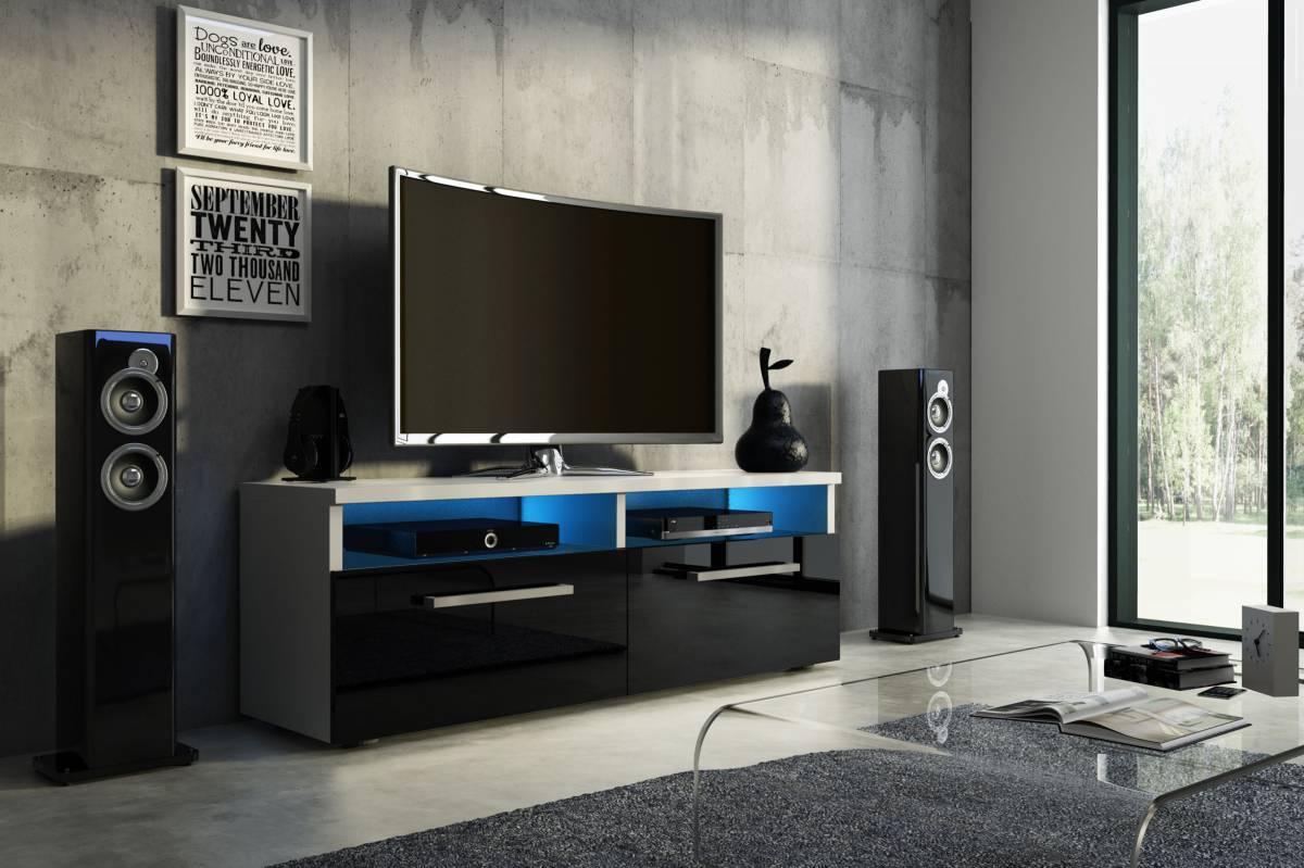 TV stolík/skrinka Bonn (čierny lesk + biela matná)