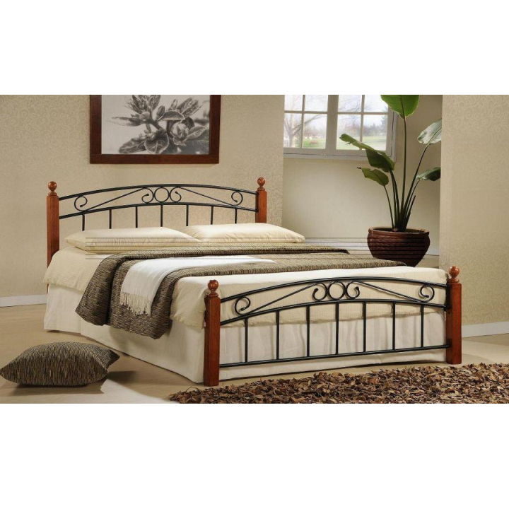 Manželská posteľ, drevo čerešňa/čierny kov, 160x200, DOLORES
