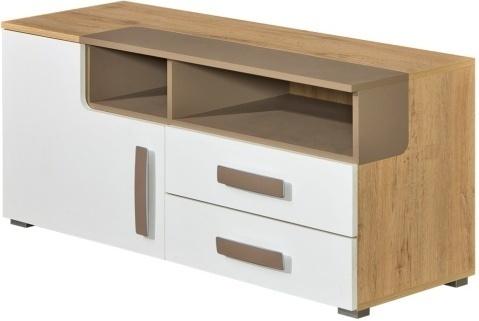 TV stolík/skrinka, san reno/biela/capucino, KATAR K9