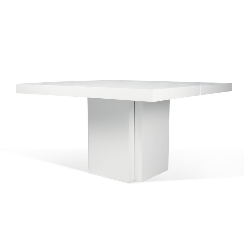 Lesklý biely jedálenský stôl TemaHome Dusk, 150cm