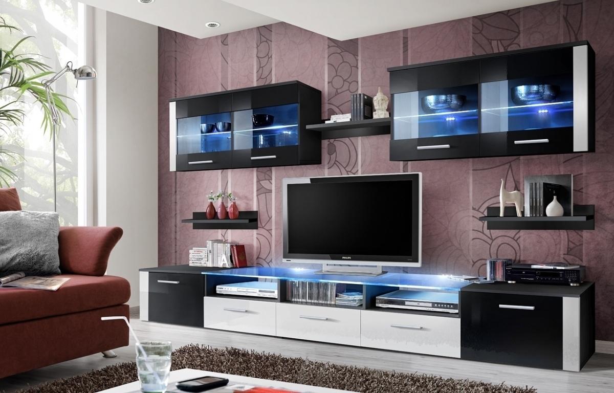 ASM ZOOM ZW obývacia stena - čierna / čierno-biely vysoký lesk