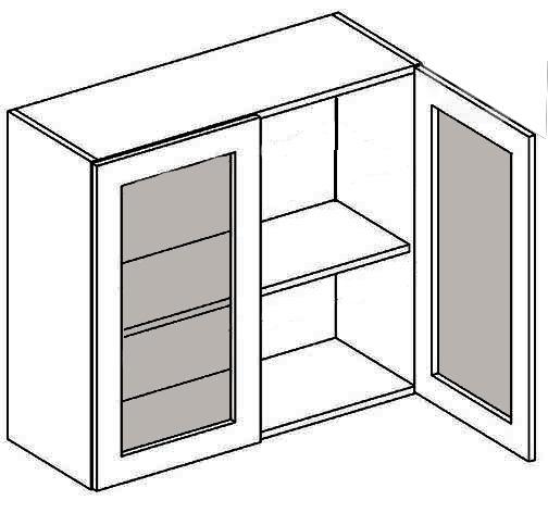 W80W CZ horná vitrína 2-dverová - číre sklo, vhodná ku kuchyni PREMIUM