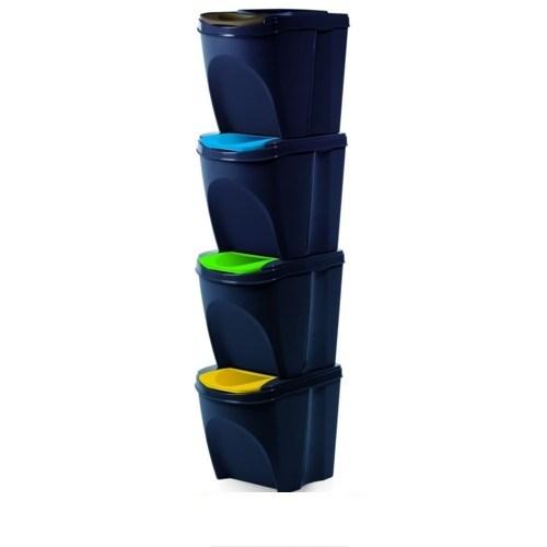 Kôš na triedený odpad Sortibox 20 l, 4 ks, antracit IKWB20S4 S433