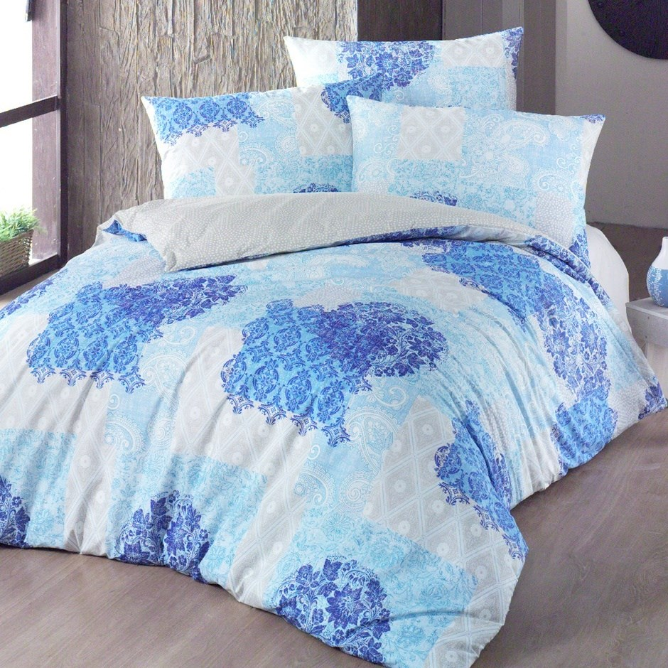 Night in Colours Bavlnené obliečky Ottorino modrá, 140 x 200 cm, 70 x 90 cm