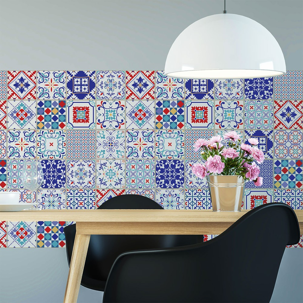 Sada 60 samolepiek na stenu Ambiance Azulejos Milonga, 15×15cm