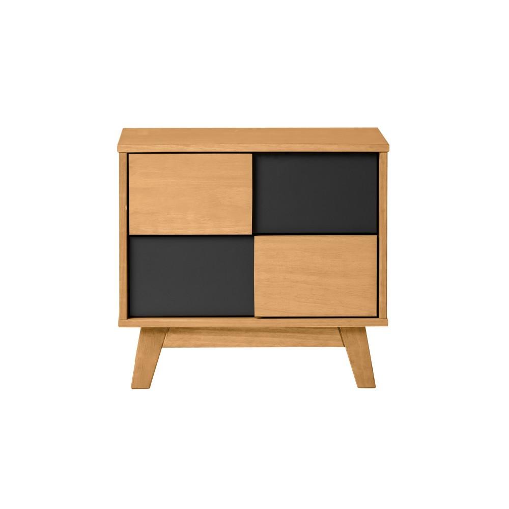Nočný stolík s čiernymi detailmi Marckeric Yari, 50 × 46 cm