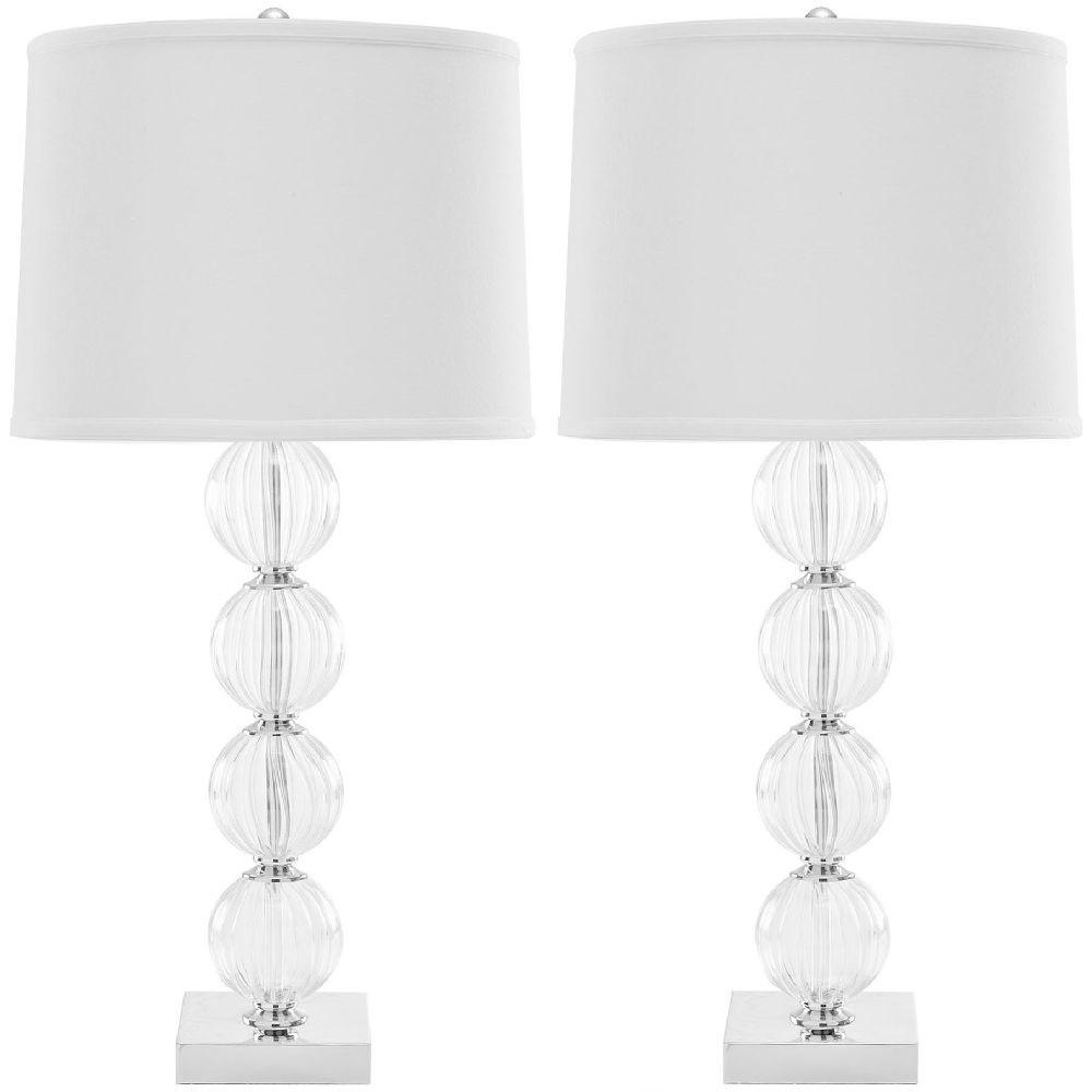 Sada 2 bielych stolových lámp Safavieh Bubli