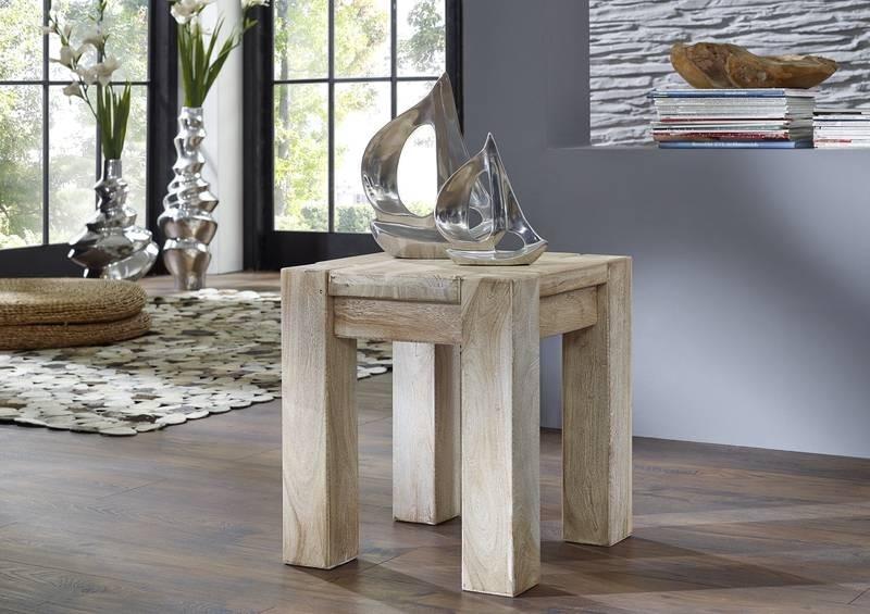 Bighome - WHITE WOOD taburetka lakovaný akáciový nábytok