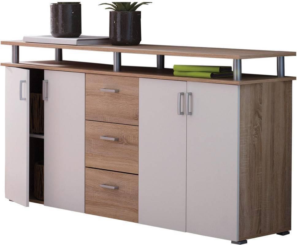 Prádelník - 4 dveře + 3 zásuvky dub/bílá
