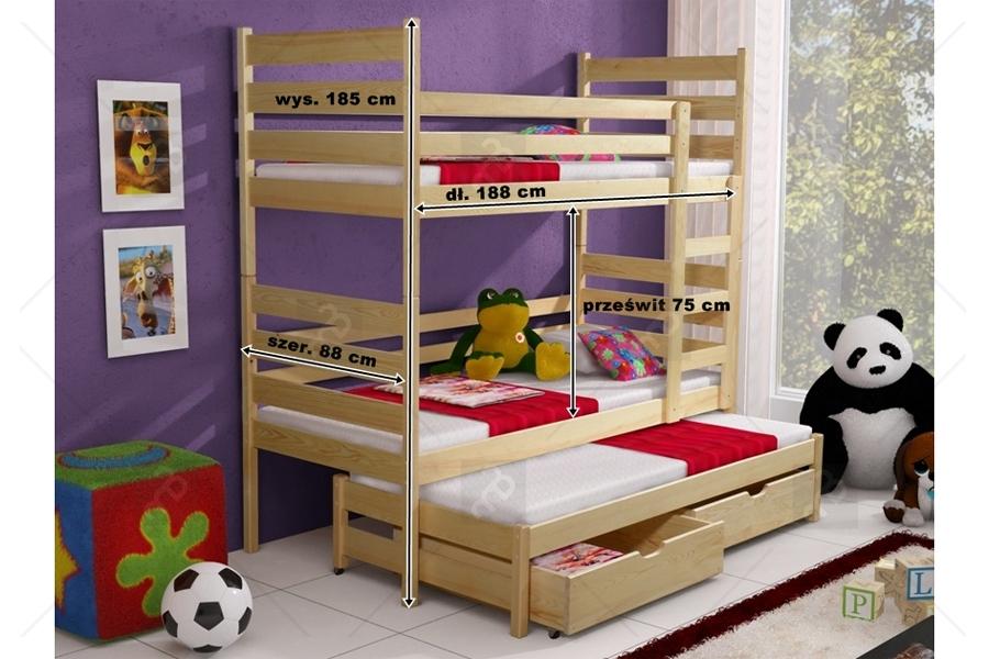 Nabytok-Bogart Poschodová posteľ tedi 3-osobová 90 x 200 calvados