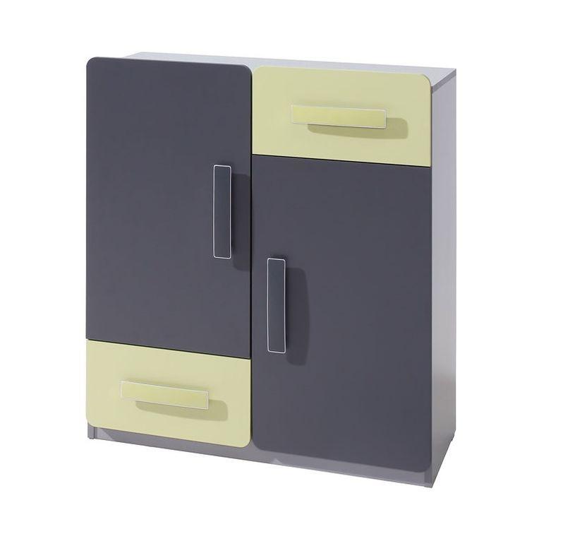 Komoda FIGARO 2D2SZ, 91x80x42 cm, grafit/zelená