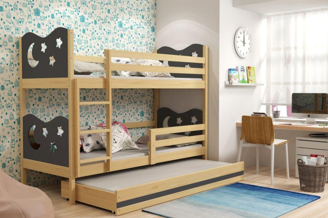 Poschodová posteľ KAMIL 3 + matrac + rošt ZADARMO, 90x200, borovica/grafitová