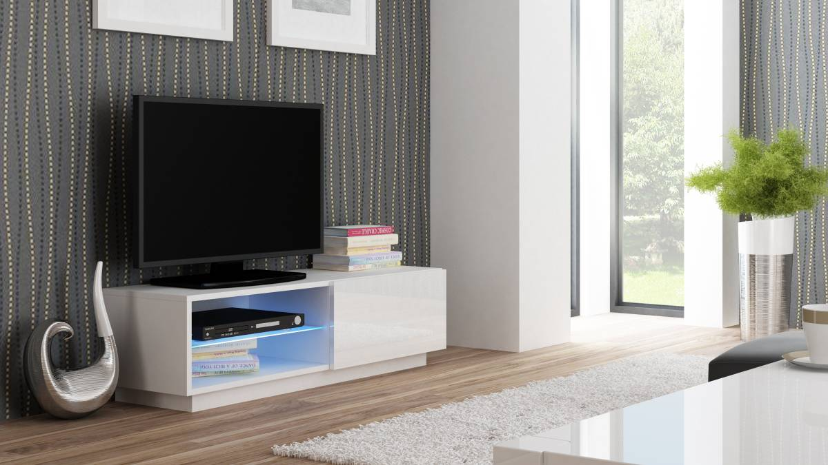 TV stolík/skrinka Livo RTV-120S (biela + lesk biely)