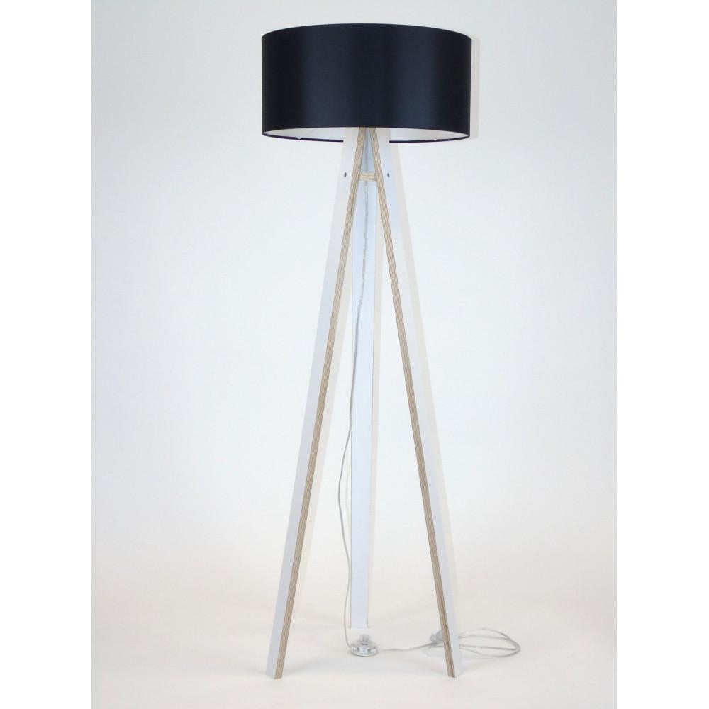 Biela stojacia lampa s čiernym tienidloma transparentným káblom Ragaba Wanda