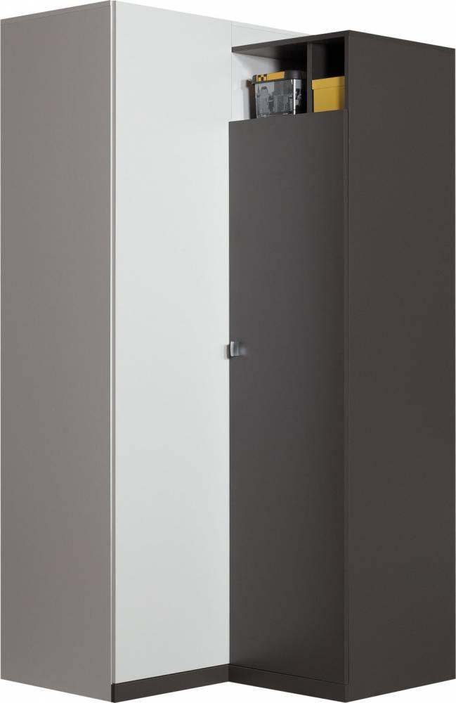 Rohová šatníková skriňa TABLO TA2   Farba: Grafit/biela