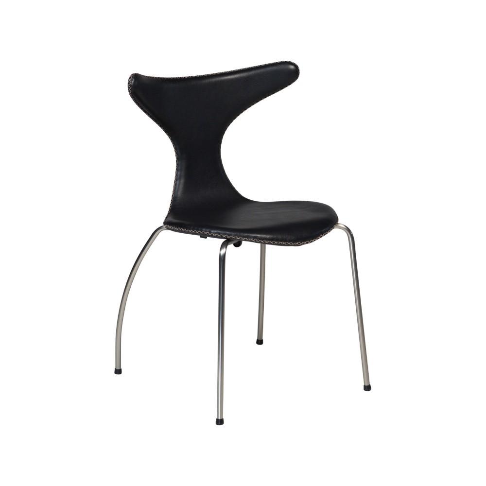 Čierna kožená jedálenská stolička s kovovou podnožou DAN–FORM Dolphin
