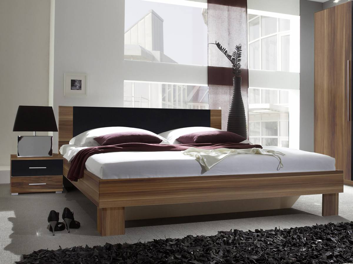 Manželská posteľ 160 cm Typ 51 (orech + čierna) (s noč. stolíkmi)