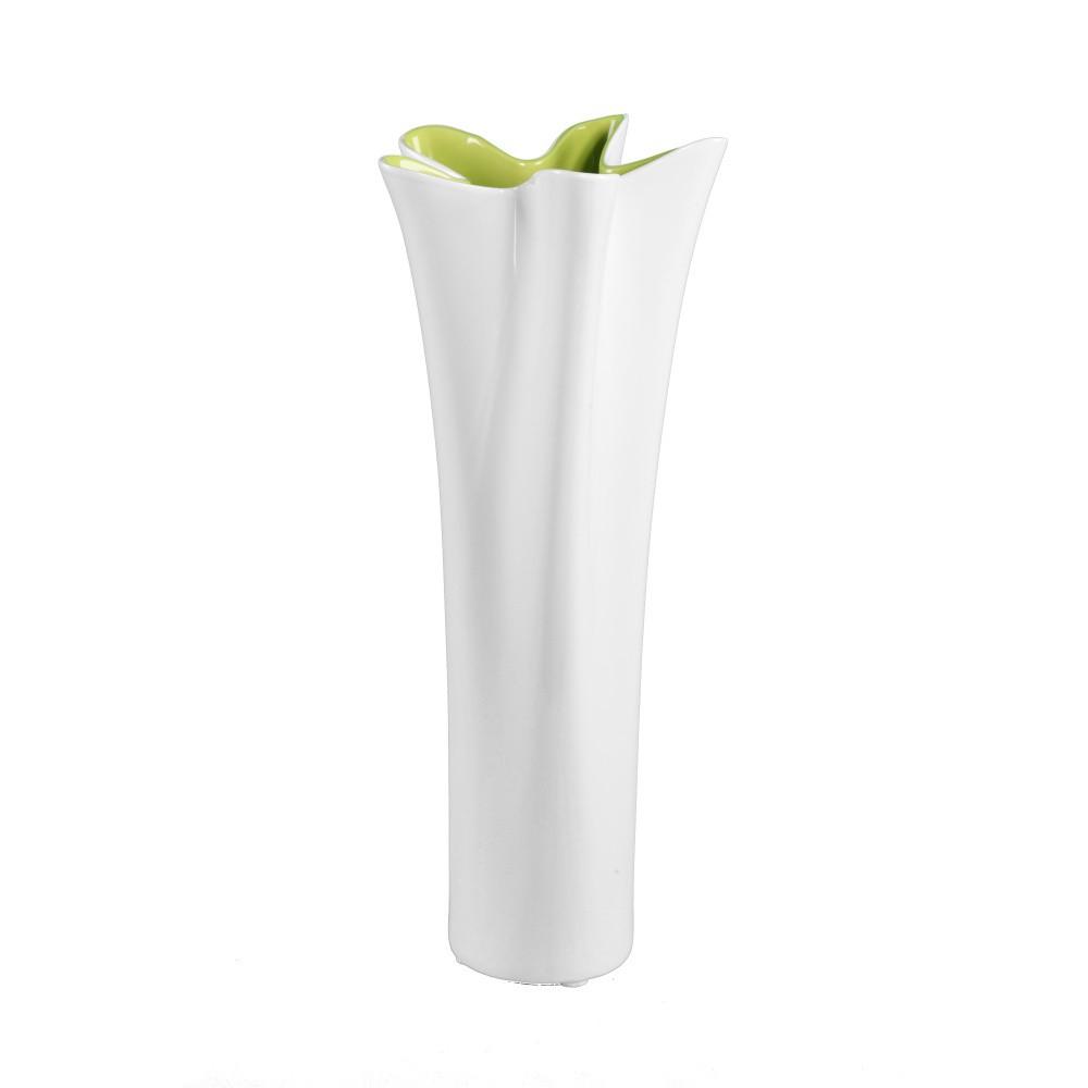 Zeleno-biela keramická váza Mauro Ferretti Mica, výška 54,5 cm