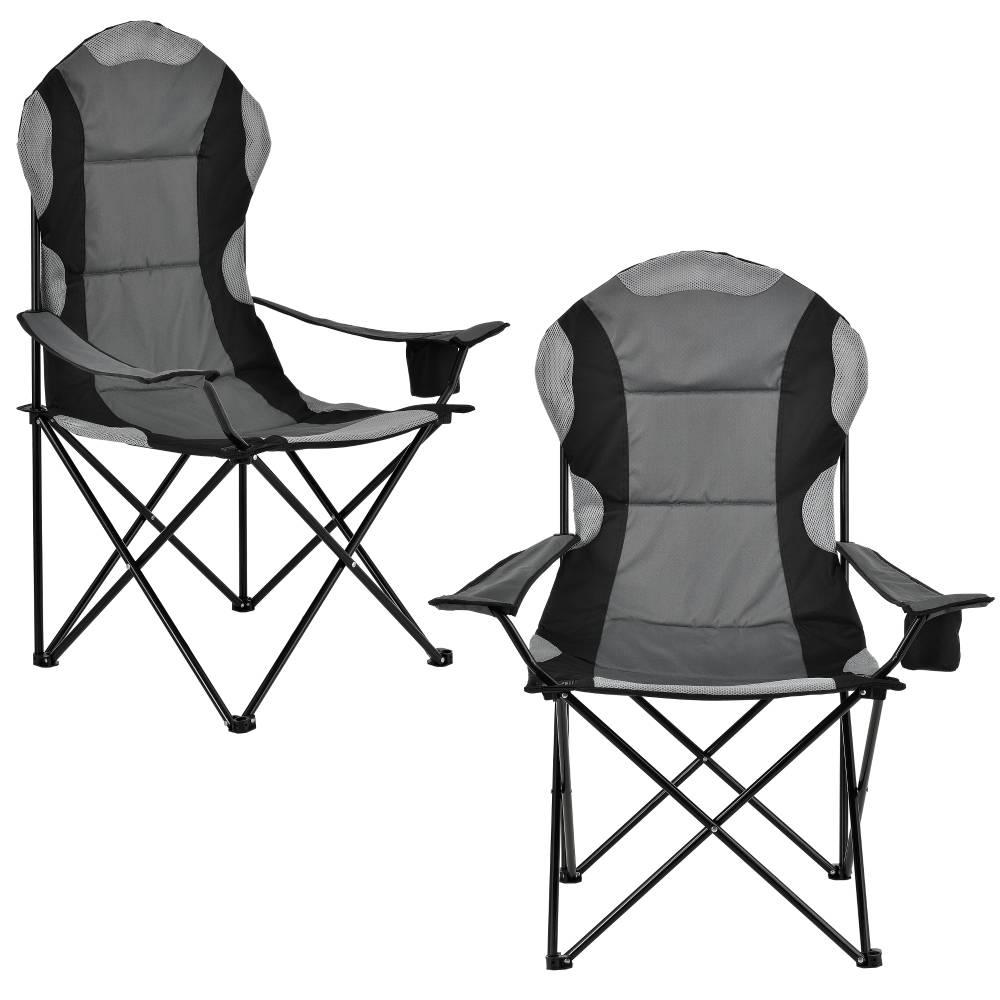 [casa.pro]® Kempingové / rybárske kreslo - sada 2 ks - čierno-sivé