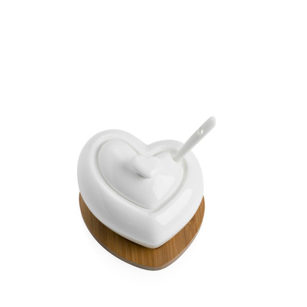 Porcelánová cukornička s lyžičkou a bambusovou podtáckou Brandani Heart