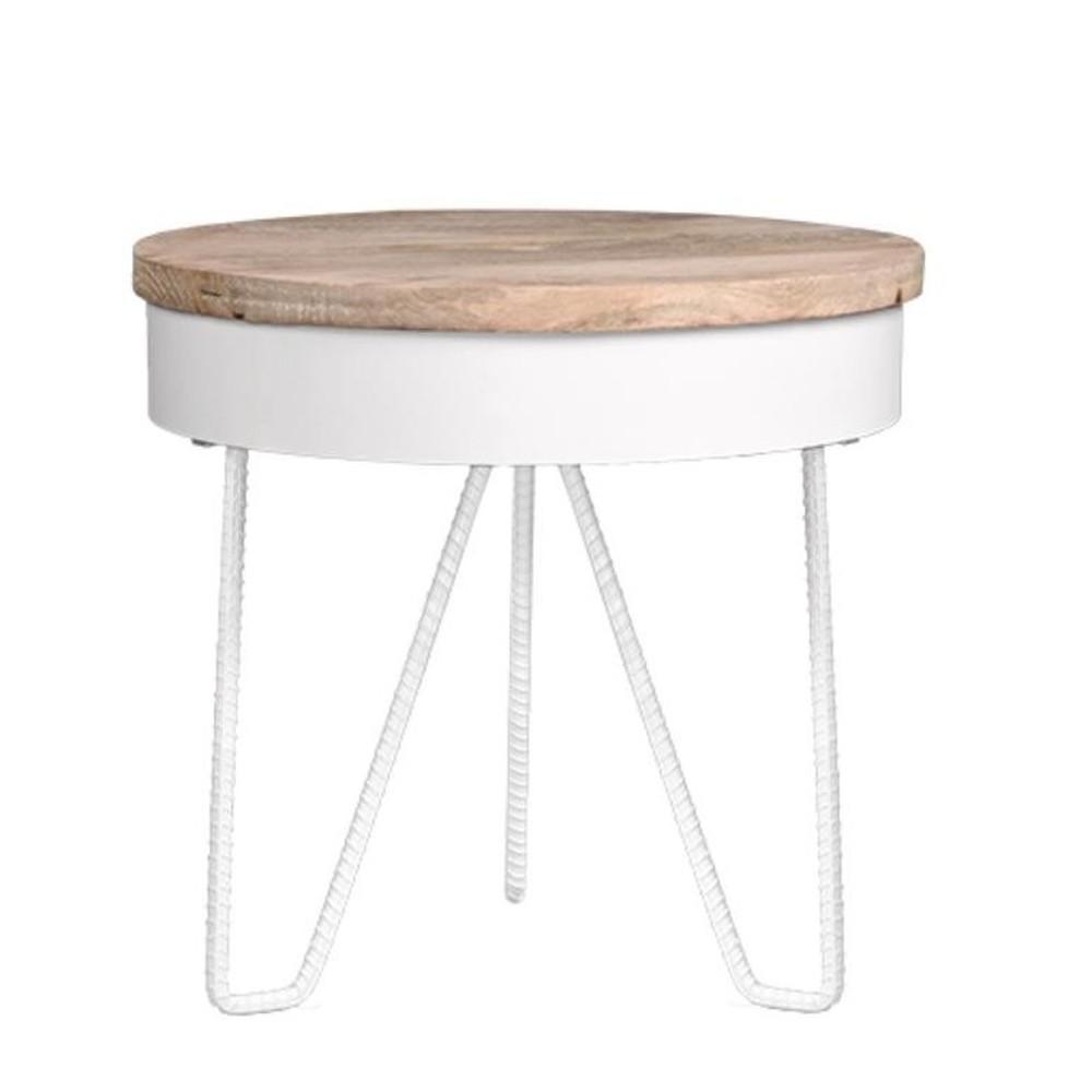 Biely príručný stolík s drevenou doskou LABEL51 Saran