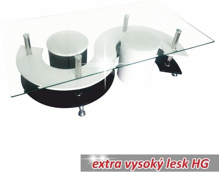 Konferenčný stolík, sklo / chróm / biela / čierna, RUPERT