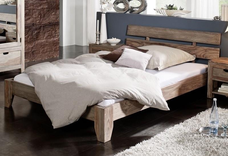 NATURE GREY #210 Sheesham posteľ 140x200, masívne palisandrové drevo