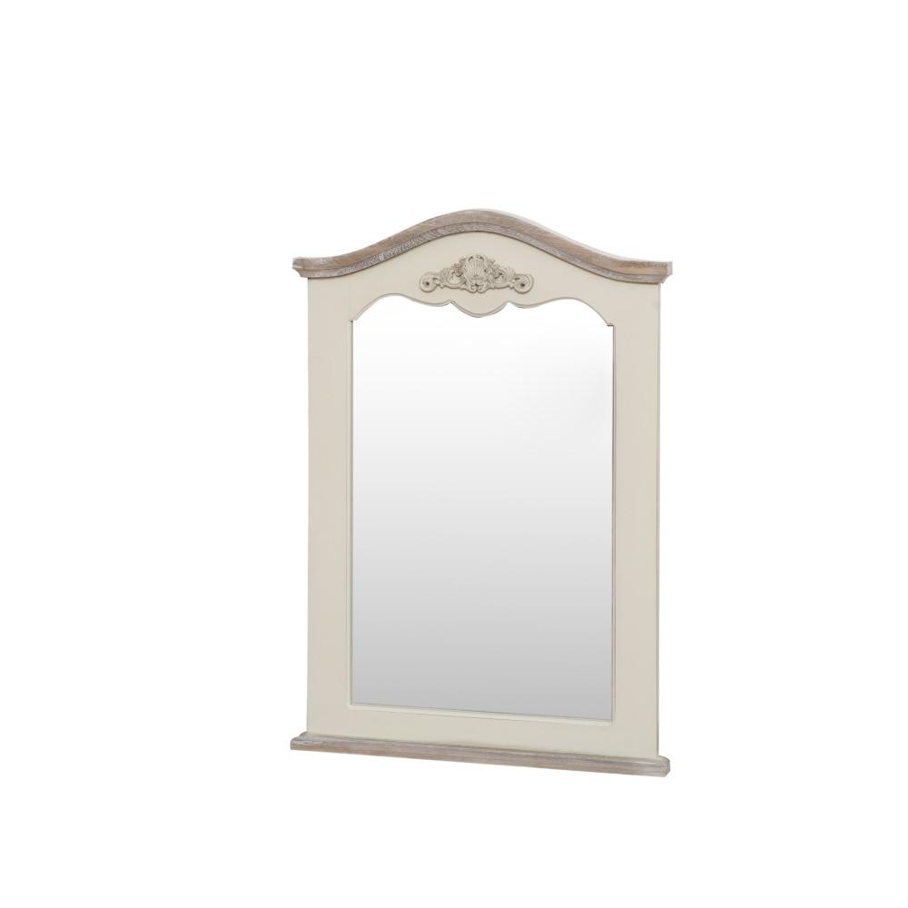 Zrkadlo v krémovom ráme z topoľového dreva Livin Hill Rimini, výška 85 cm