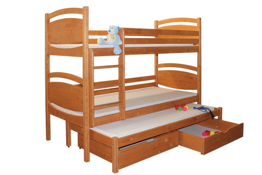Bradop Poschodová posteľ, trojpostel Davídek (základné prevedenie) B409-80x180