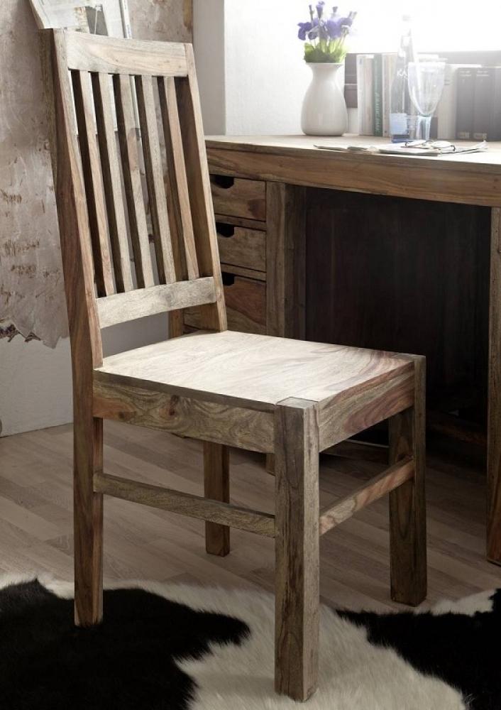 NATURE GREY #121 Sheesham stolička, masívne palisandrové drevo