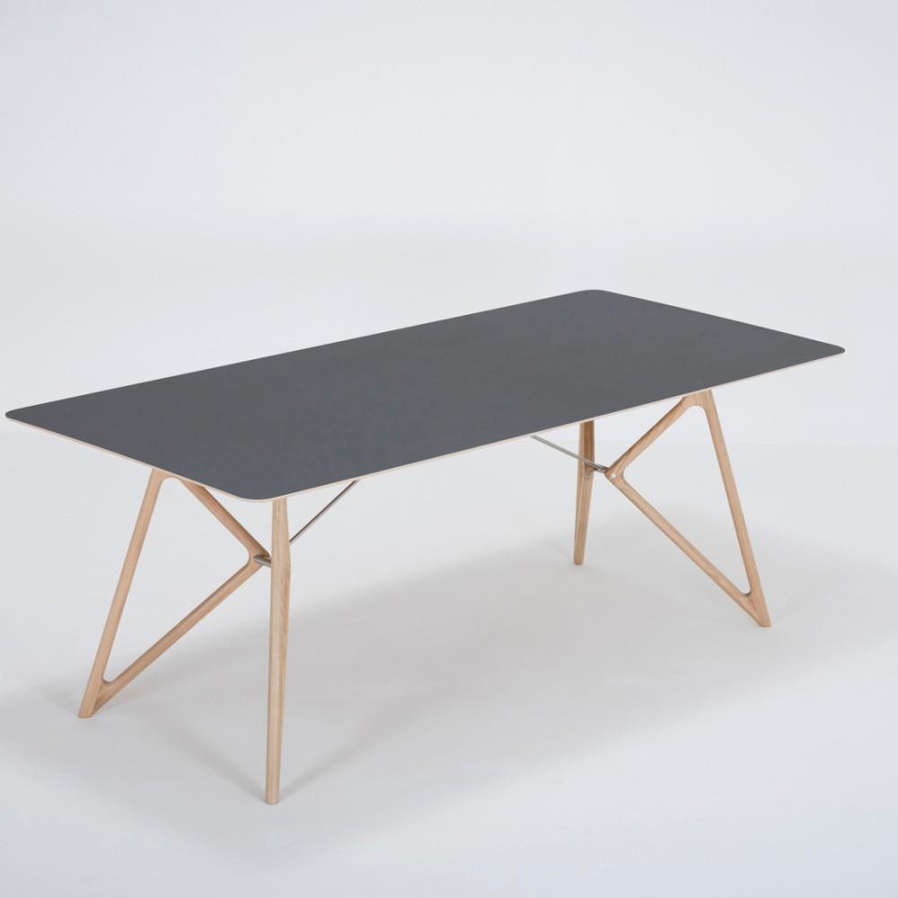 Jedálenský stôl z masívneho dubového dreva s čiernou doskou Gazzda Tink, 200×90cm