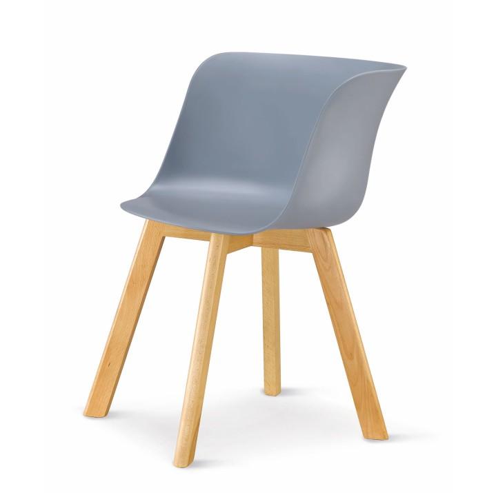 Stolička, plast+drevo buk, sivá, LEVIN