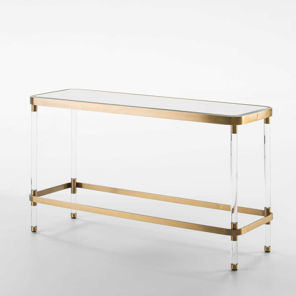 Zrkadlový konzolový stolík s detailmi v zlatej farbe Thai Natura, dĺžka120 cm