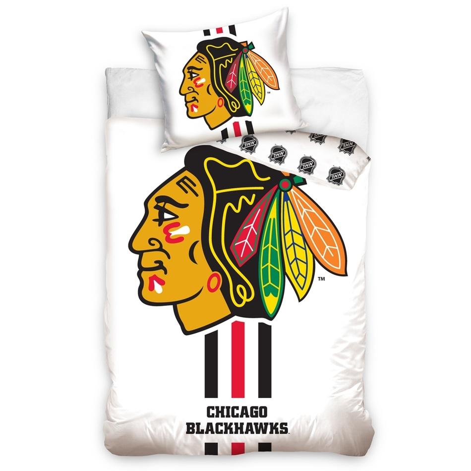 BedTex Bavlnené obliečky NHL Chicago Blackhawks White, 140 x 200 cm, 70 x 90 cm