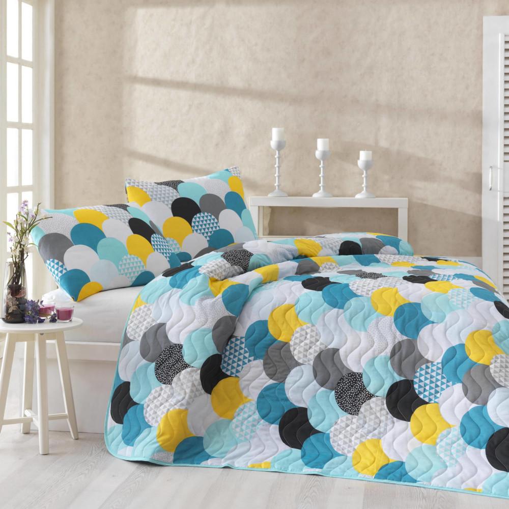 Sada prešívanej prikrývky cez posteľ a dvoch obliečok na vankúš Damla Mint, 200x220 cm