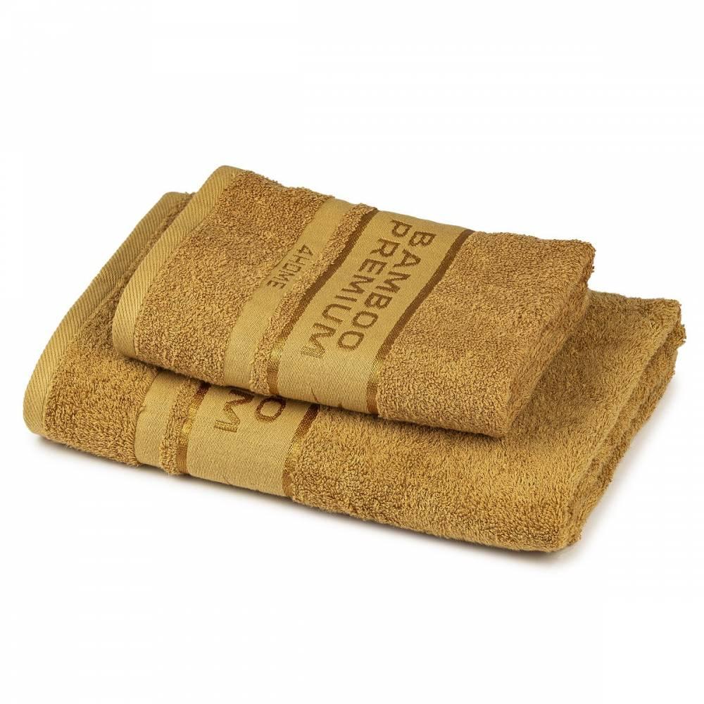 4Home Sada Bamboo Premium osuška a uterák tmavo béžová, 70 x 140 cm, 50 x 100 cm