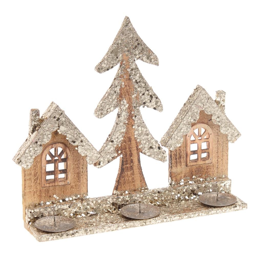 Vianočný drevený stojan na 3 sviečky InArt Danny