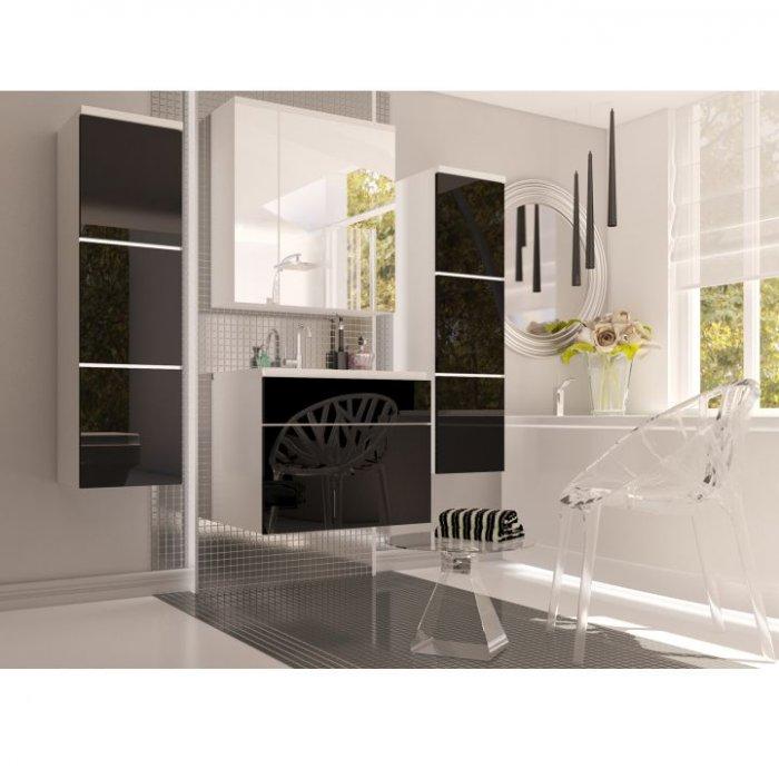 TEMPO KONDELA MASON kúpeľňa - biela / čierny vysoký lesk